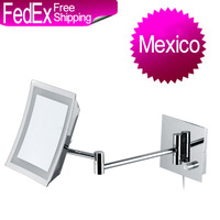 Mexico Free Freight GREENFROM Square Single Side Swivelling LED Bathroom Wall Shaving Magnifying Makeup Mirror