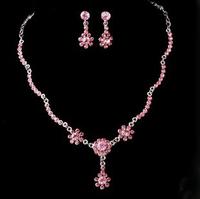 Free shipping Good quality Crystal flower wedding jewelry Luxury Bride fashion brief crystal necklace stud earring 2 piece set