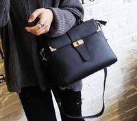 New 2015 fashion women's leather small bags handbag vintage designer brand messenger bag black greay shoulder bag korea style