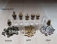 Free Shipping - 50sets/lot 1ML Mini Glass Bottle With Eye Hook,1CC Empty Glass Vials Pendant,Small Charm Glass Bottle