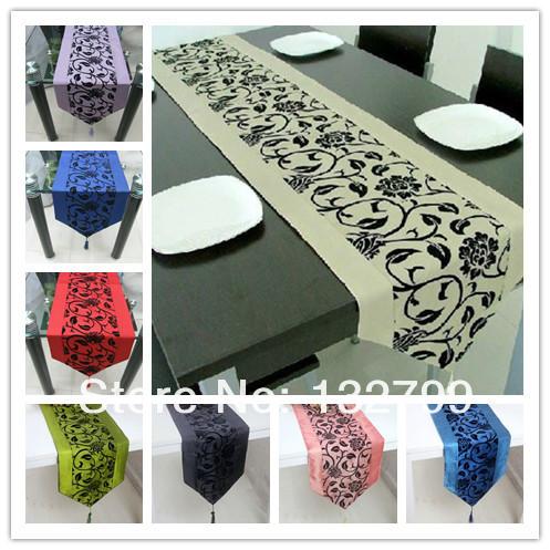 "Raised Flock Taffeta Flower Table Runner Blossom Damask Tassel Bed Table Cloth Decor 79""x13"" 12Colors()"