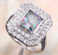Popular style with good quality! Fashion jewelry Rainbow Topaz Silver 925 Rhodium Rings USA size #7 MR010