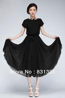 Black Green Pleated Elastic Chiffon Bohemian Women Long Dresses Ruffles Mid-calf Plus Size One Piece Dress 2013 Summer Hot S-XL