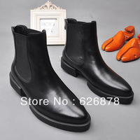 Free shipping Vintage fashion male boots brief cowhide pointed toe boots elastic strap back zipper fashion boots men's 002