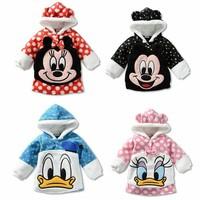 Design 1 piece Warm long-sleeve thicken Kids Outerwear Mickey Minnie Baby Girl/Boy sport Clothes, Children Coats