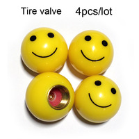 4pcs/set Smile Face Tire /Wheel Air Valve Cap Covers Decors Tyre Valve ABS&brass For Car Auto Pressure Monitor Free shipping