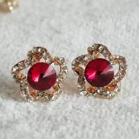 2014 New Arrival Hot sale (Min order $10) women statement flower crystal Earrings for women lady earring Factory Price