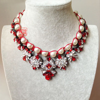 2014 Wholesale necklace shourouk  chunky necklace Choker crystal pearl necklaces pendants fashion Necklace  women Christmas gift