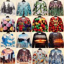 2014 3D Sweatshirts Cake / flowers / trees / street / strawberry / Sky Pullovers Funny Print Galaxy Sweaters Hoodies Top t shirt(China (Mainland))