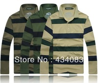 Free shipping cheap Men's clothing t shirt stripe cotton 100% turn-down collar long-sleeve plus size t-shirt