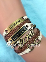 Free Shipping!6PCS/LOT!New DREAM Believe LOVE Infinity Bracelet Antique Retro Multi Charms With Leather Rope Gift Jewelry C-630