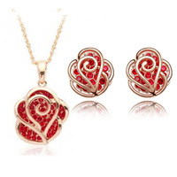 Jewelry Set cutout Rhinestone Rose Short Design Necklace Stud Earring a85b107 Rose Set