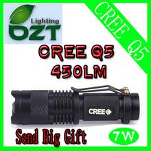 CREE XM - L Q5 450Lumens Cree llevó la antorcha de Zoomable del Cree LED impermeable linterna antorcha de luz(China (Mainland))