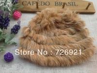 Hot Sale Fedex Free Shipping Genuine Knit Rabbit Fur Hat Nature Knitted Cap Various Fashion Women Headgear Headdress