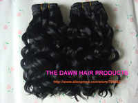 "2Piece/Lot Color 1# 10""-18"" Mixed (50% Human Hair&50% Heat Resistant Fiber) Loose Deep Wave Weave Weft Weaving Hair Extension"