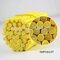 (100 pcs/lot) lemon Fruit 3D Nail Art FIMO Nail Art tips Glitters Decorations