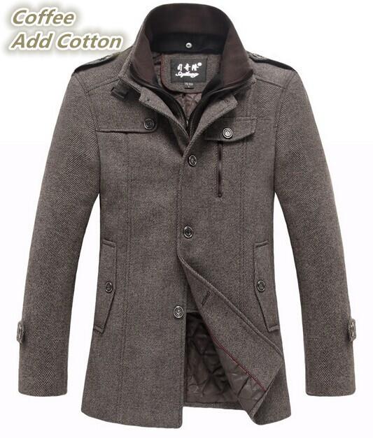 Winter 2014 Mens Woolen Trench Coat Brands Jackets Men's Cashmere Pea Coats Man Warm Overcoat Men High Quality Peacoat M-XXXL(China (Mainland))
