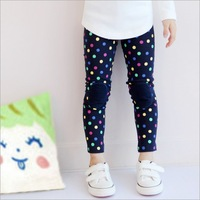 2015 spring new girl colorful dot patch cotton leggings,1054