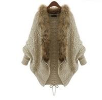 New 2014 fur sweater women's fashion cardigan batwing sleeve fur coat high quality warm casual sweater  T265