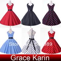 2015 Grace Karin Plus size Women Cotton Polka Dots 50s 60s Retro Vintage Rockabilly Swing Pinup vestidos Evening Prom Dress 4599