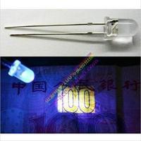 Free Shipping 100pcs 5mm Super Bright Round Light Bulb UV/ Purple Color LED Lamp LED Light emitting Diodes Wholesale