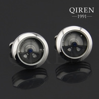 Newest classic Germany titanium steel silver tourbillion Cuff Links unique MEN watch cufflinks surprise gift QR-377