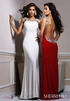 Hot Sale 2014 Custom Made Straight Satin Chiffon Beading Open Back Sexy Prom Dresses