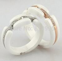 rose/silver crystal white/black rings
