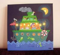 Free shipping wholesale 2pcs/lot Cartoon Design Decorative Frameless Painting LED Canvas 30*30*3CM