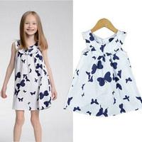 kids girl 100% cotton Children's summer clothing  princess butterfly dress,1342