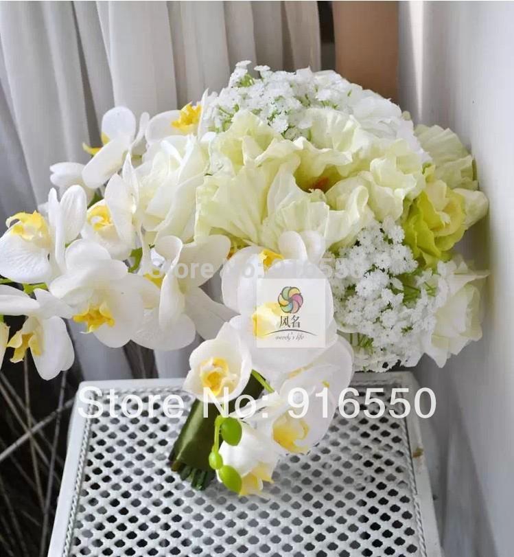 Frete grátis flor de seda Orquídea, Papoula, rosas, buquê do casamento da respiração do bebê / buquê de noiva / casamento Arranjo Floral(China (Mainland))