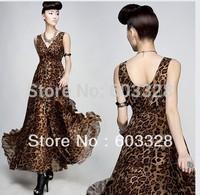 Women's Summer Leopard Chiffon V-neck Evening Ball Gown Vintage Long Maxi Dress