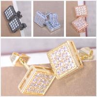 min mix order is $10 - --- stud earrings piercing AAA crystal Rhinestones CZ pave Square bead pair designer