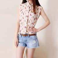 Hot Sell 2014 New Fashion Chiffon Blouses Summer Lady Chiffon sleeveless print dogs blouse shirt  women Quality Brand 9035