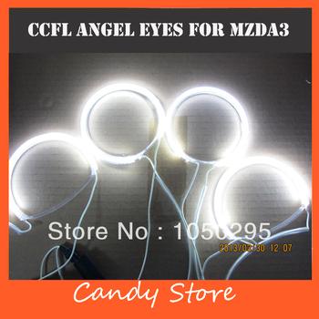 6000 K blanco M3 Halo anillos faro para Mazda3 CCFL Angel Eyes con 4 ángel de CCFL anillos y 2 CCFL inversores