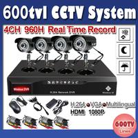 4CH 600TVL IR Surveillance CCTV Outdoor Camera Kit Home Security DVR Recorder System free shipping