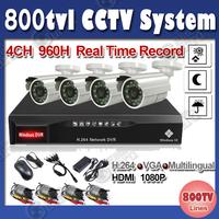 600tvl Surveillance System IR Outdoor Cameras 4ch D1 DVR Recorder CCTV DVR Kit CCTV Camera System free shipping
