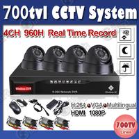 Home 700TVL 4CH CCTV Security Camera with IR Cut 4CH DVR DIY Kit Color Video Surveillance System free shipping
