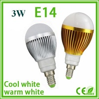 5pcs/lot wholesale 3W LED bulb,E14,Silver shell Gold shell  cool white Dimmable 220V Bubble Ball bulb free shipping