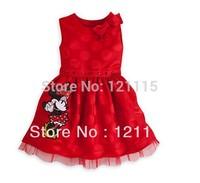 Hot Sale 2014 New Arrival Child Girl Dress O-neck Bow Shoulder Minnie Decor Girl Dress Princess Dress Summer Red