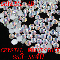 all sizes Crystal AB/Clear AB Rhinestones for Nail Art 1440pcs/Pack Flat Back Non Hotfix Glue on Nail Art Rhinestones