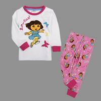Free shipping 18m-6y Nova new 100% cotton kids clothing autumn-winter baby girls lovely sets print cartoon Dora suits
