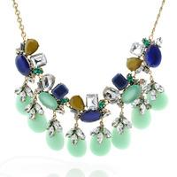 2014 New Design Fashion European Crystal Retro Vintage Blue Short Necklaces Colorful Pendants For Women Wholesale Free Shipping