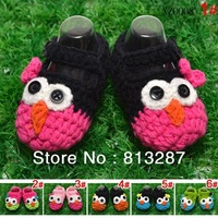 New design handmade Owl crochet baby shoes First Walkers infant girl shoes Toddler boy shoes baby Free ship 2 piece=1 pair