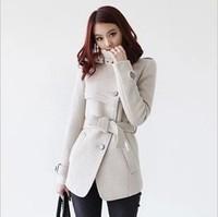 2013 new winter fashion thin single-breasted wool coat collar Slim free shipping