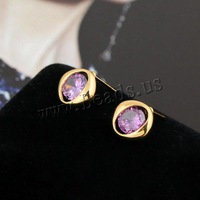 Free shipping!!!Brass,Gift, 18K gold plated, with cubic zirconia, nickel, lead & cadmium free, 10.5mm, Sold By Pair
