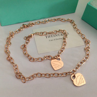 Free shipping! Wholesale rose gold plated titanium steel classic jewelry sets:Necklace+bracelet  good price good quality  HS022R