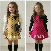 2014 New Spring Baby Girls Dress Children Outwear Kid cute Dot long sleeve 2 colors Dot dresses 1pcs Hot Sale High Quality Brand