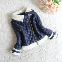 Retail Free Shipping 2013 New Childrens Kids Girls Winter  Fleece Wadded Jacket Zipper Outerwear Kids Jackets & Coats