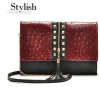 women leather handbags Tassel leopard print small bag messenger bag rivet women's handbag ostrich one shoulder day clutch